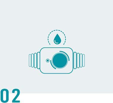 Vandeniui atsparus mygtukas užtikrina jūsų saugumą visą laiką